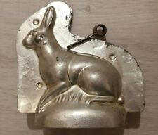BUNNY RABBIT HAAS HASE HAIR TIN METAL DUTCH CHOCOLATE MOLD VINTAGE ANTIQUE
