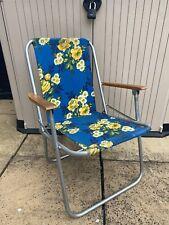 Vintage Bold Blue Floral Metal Frame Wood Handles Camping Garden Deck Chair
