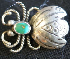 Navajo Sterling Silver Flying Insect Bug Stamp Design W/ Turquoise Stone