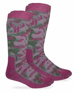 Huntworth Womens Camo Merino Wool Thermal Cushion Outdoor Boot Socks 2 Pack