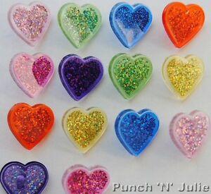 PLASTIC GLITTER HEARTS - Love Valentine's Day Novelty Dress It Up Craft Buttons
