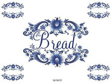 VinTaGe ImaGe Xl BluE DeLfT FloRaL SwaGs BreaD LaBeL ShaBby WaTerSliDe DeCal