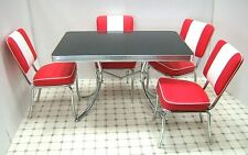 Retro 50s US Diner Furniture Kitchen Table +4 Chairs Restaurant Seating Set Red