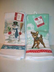 Set of 2 Festive Christmas Snowman & Reindeer Kitchen Dish Hand Towels