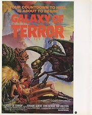 "2003 Vintage SCI-FI ""GALAXY OF TERROR"" COLOR GGA Print Lithograph MINI POSTER"