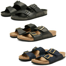 Jack & Jones Sandals Mens Leather Summer Two Double Adjustable Straps Slides