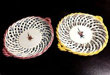 Vintage Set of 2 Open Basket Weave Porcelain Dishes Lattice or Speghetti Plates