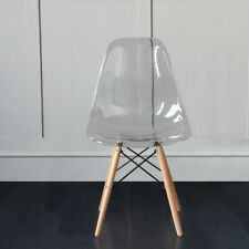 2PCS Ghost Clear Acrylic Style Dining Office Transparent Eiffel Wood Leg Chairs