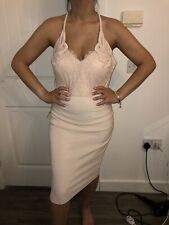 BNWT LIPSY NUDE  BUTTERFLY APPLIQUE LACE TRIM TIGHTFIT BODYCON DRESS SIZE 16 £68