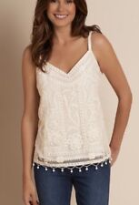 NEW Soft Surroundings Antique Garden Tank, Embroidered, Ivory, Plus SZ 1X $90