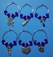 6 X  Prosecco/Wine Glass Charms- BABY BOY.New Baby Gift/Blue Beads/Baby Shower.