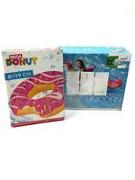 2 coole Donut Schwimmringe Ø 119 cm  + Einhorn Reittier Pool Badespaß Set OVP