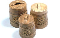 Beal 1977 Set of 3 Ceramic Canisters Kitchen Cookie Jars Vintage Retro Brown