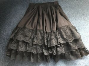 Black cotton petticoat with three tiers of beautiful black lace