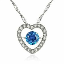 925 Sterling Silver Round CZ Simulated Blue Topaz Pendant Heart Dancing Necklace