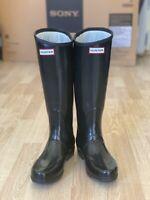 Hunter Black Wellington Rubber Rain Boots Wellies Size 5 EU 38