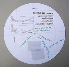 SAEC we-317 progettati su misura PHONO CARTRIDGE Stylus allineamento Goniometro