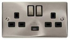 Fare clic su DECO 13A 2G DP LINGOTTO commutata socket outlet + USB Charge punto e Nero