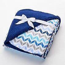 NWT Just Born Navy Blue White Chevron Striped Stripes Velour Sherpa Baby Blanket