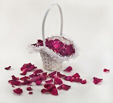 Wedding Flower Girl Basket including 5 cups freeze dried rose petals.