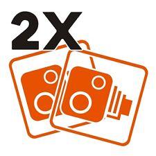 2X Car CCTV Camera Icon Orange Car Van Taxi Window Bumper Sticker Decal Dash Cam