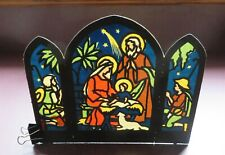 1930's Germany Christmas Nativity Colored Diecut Stencil Printed Background !