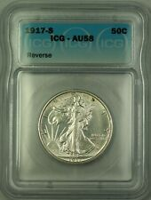 1917-S Walking Liberty Silver Half Dollar 50c Coin ICG AU-58 Reverse Mint Mark