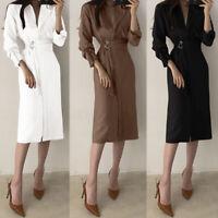UK Womens Long Sleeve Midi Shirt Dress Ladies Loose Office OL Work Belt Dresses