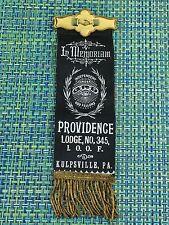 1900S Whitehead & Hoag SHAKING HANDS ODD FELLOWS Ribbon Badge Pin IN MEMORIAM