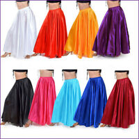 Satin Full Circle Skirt Belly Dance Gypsy Tribal 9 Yard 360 Jupe Rock Maxi Dress