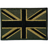 Green UK Flag Patch Iron Sew On Union Jack United Kingdom Army Embroidered Badge