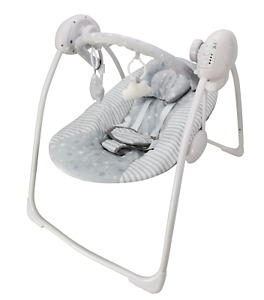 LADIDA Grey Baby Electric Swing, 2 Hanging Toys, Soft Head Support, 52