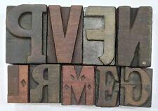 Letterpress Letter Wood Type Printers Block Lot Of 9 Typography Eb 219