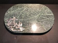 "Granite Cutting Board Hot Plate 12"" x 8"" x 1/2"" with Pewter Light House"