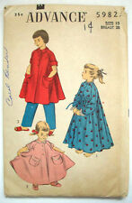 1940's 1950's robe housecoat lounger  pattern 5982 child's size 10