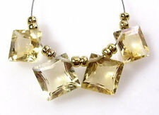 NATURAL GOLDEN CITRINE FACETED PRINCESS SQUARE CUT BEADS  9 MM D13
