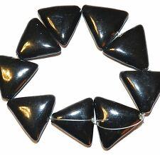 "CPC141f Black 26mm Flat Puffed Triangle Glazed Porcelain Beads 8"""