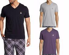 Psycho Bunny Men's Applique Bunny Logo V-Neck Cotton Blend Short Sleeve T-Shirt
