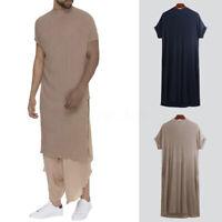 Men's African Ethnic Short Sleeve Long Shirt Causal Loose T shirt Tunic Dress UK