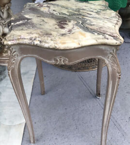 Vintage Italian marble side table end table Cottage Style BOHO Chic