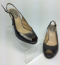 Womens Sz 8B Bronze Snake Skin Peep Toe Slingback Heel Shoes
