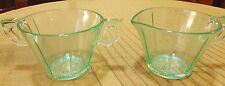 Vintage US SCROLL Green Tint GLASS Sugar Bowl and Creamer Set UNIQUE