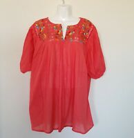 Mexican Womens Blouse Size XL Peach  Peasant Embroidered Bohemian Hippie Top