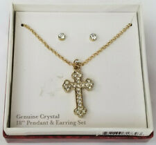 """Crystal Cross Pendant Necklace 18"""" Chain and Stud Crystal Earings w/ Gift Box"""