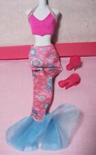Barbie Doll PRINCESS Human Dress CLOTHES Pink Print TAIL/BIKINI TOP Rose Heels