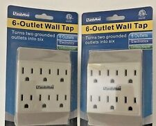 TWO 6-Outlet Grounded Wall Adaptor-Multi Plug-USA SELLER