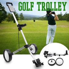 Golf Trolley 2 Wheels Aluminum Foldable Silver No Brake Golf Bag Push Cart CA