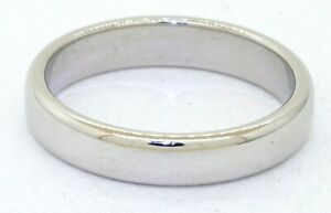 Tiffany & Co. Platinum 4.4mm wide mens wedding bang ring w/ box & pouch size 10