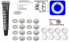 50 Fabric Cover Button Earrings 12mm  DIY KIT Stud Stainless Steel & Cab BEZEL