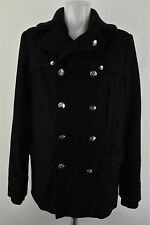 Lee Jeans Woolen Long Coat Long Sleeve Collared Blac Jacket Size L